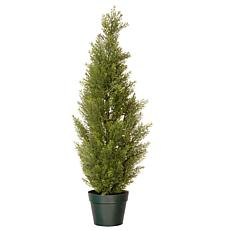 Winter Lane 3' Artificial Topiary Arborvitae Tree in Base