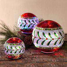 Winter Lane 3-pack Lit Holiday Glass Globes