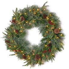 "Winter Lane 30"" Colonial ""Feel-Real"" Wreath w/Lights"
