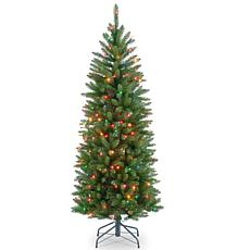 Winter Lane 4-1/2' Kingswood Hinged Pencil Tree w/Multicolor