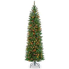 Winter Lane 6-1/2' Kingswood Hinged Pencil Tree w/Multicolor