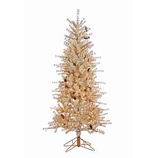 Winter Lane 6' Lighted Buttercream Hard Needle Slim Tree