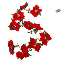 Winter Lane 6' Lighted Poinsettia Garland with 6-Hour Timer
