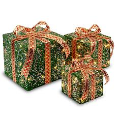 "Winter Lane 6""/8""/10"" Assorted Green Sisal Gift Boxes"