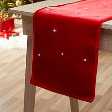 "Winter Lane 72"" Velvet and LED Light Table Runner"