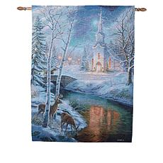 Winter Lane Holy Night Fiber-Optic Christmas Tapestry