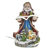 Winter Lane Musical Lighted Moving Santa with Village Scene