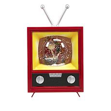 Winter Lane Musical Spinning Glitter Antique TV - Santa