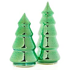 Winter Lane Set of 2 3D Glass Christmas Trees