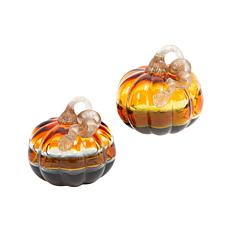 Winter Lane Set of 2 Hand Blown Art Glass Verigated Color Pumpkins
