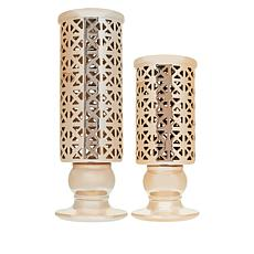 Winter Lane Set of 2 Pre-Lit Candle Holders with LED's