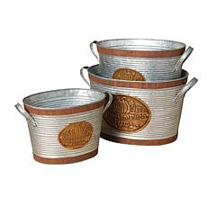 Winter Lane Set of 3 Galvanized Metal Buckets