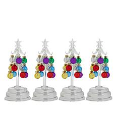 Winter Lane Set of 4 Glass Trees with Ornaments and Gift Boxes