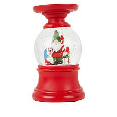 Winter Lane Snow Globe Candle Holder with 6-Hour Timer