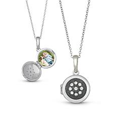 "With You Lockets™ Sterling Silver ""Roxy"" White Topaz Photo Locket"