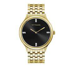 "Wittnauer Men's ""Black Tie"" Diamond Marker Goldtone Watch"