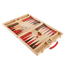 Wood Backgammon Board Game- Complete Set With Folding Board by Hey!...