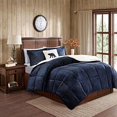 Woolrich Alton 4-pc Navy/Ivory Plush Sherpa Full/Queen Comforter Set