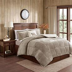 Woolrich Alton 4-piece Taupe/Ivory Plush to Sherpa King Comforter Set