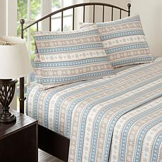 Woolrich Cotton Flannel Blue Sheet Set - Queen