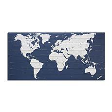 World Map Dark Blue 50x25 Print on Wood