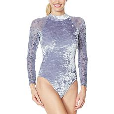 WVVY Long-Sleeve Velour and Mesh Burnout Bodysuit
