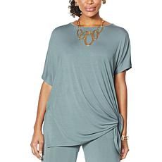WynneLayers Asymmetric Knit Side Tie Top