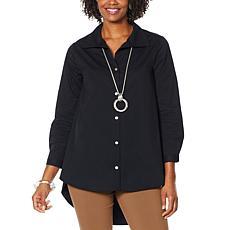 WynneLayers Button Front Hi-Low Hem Tunic Shirt
