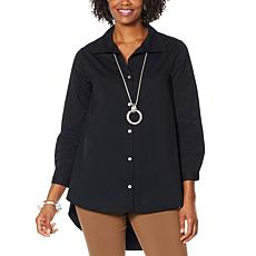 WynneLayers Button Front Hi-Low Hem Tunic Shirt