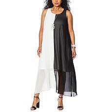 WynneLayers Chiffon Sleeveless Colorblocked Maxi Dress