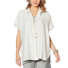 WynneLayers Curved Hem Tunic Shirt