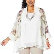 WynneLayers Drape Front Printed Chiffon Jacket