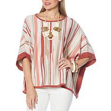 WynneLayers Jacquard Knit Poncho Sweater