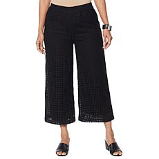 WynneLayers Lined Eyelet Pull-On Crop Pant