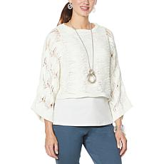 WynneLayers Open Pointelle Stitch Cropped Popover Sweater