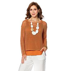 WynneLayers Open Stitch Mesh-Knit Top