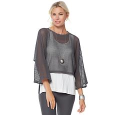 WynneLayers Open Weave Cropped Pullover