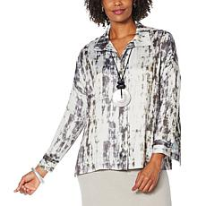 WynneLayers Satin Marble Unstructured Shirt