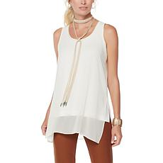 WynneLayers Sheer Chiffon Overlay Tunic Tank