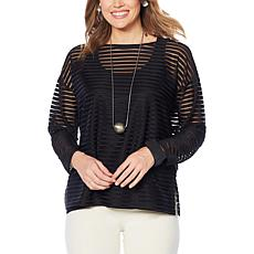 WynneLayers Sheer Stripe Bateau Neck Pullover
