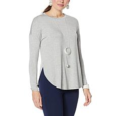 WynneLayers Shirttail Hem Knit Top with Back Pleat