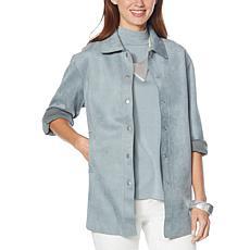 WynneLayers Stretch Faux Suede Shirt Jacket