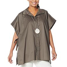 WynneLayers Stretch Poplin Button-Front Poncho Shirt