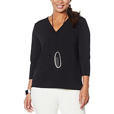 WynneLayers Twist Front Surplice Knit Top
