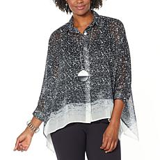 WynneLayers Unstructured Button-Front Printed Shirt