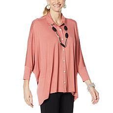 WynneLayers Unstructured Button Front Shirt
