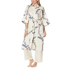 WynneLounge Matte and Shine Washed Satin Paisley-Print Maxi Robe