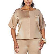 WynneLounge Washed Satin Matte and Shine Short-Sleeve Top