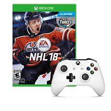 Xbox One White Wireless Controller with NHL 18 XB1 Game