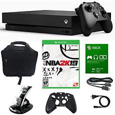"""Xbox One X 1TB Console with """"NBA 2K19"""" Game and Accessories"""